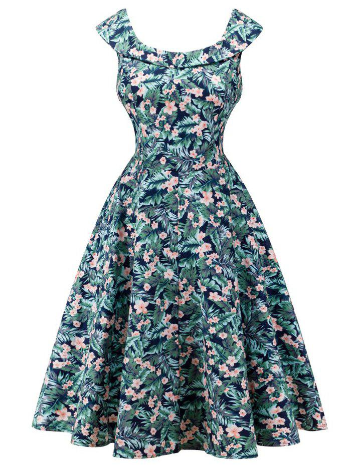 Retro Cap Sleeve Floral Capelet Dress - RAL Vert Bleu XL