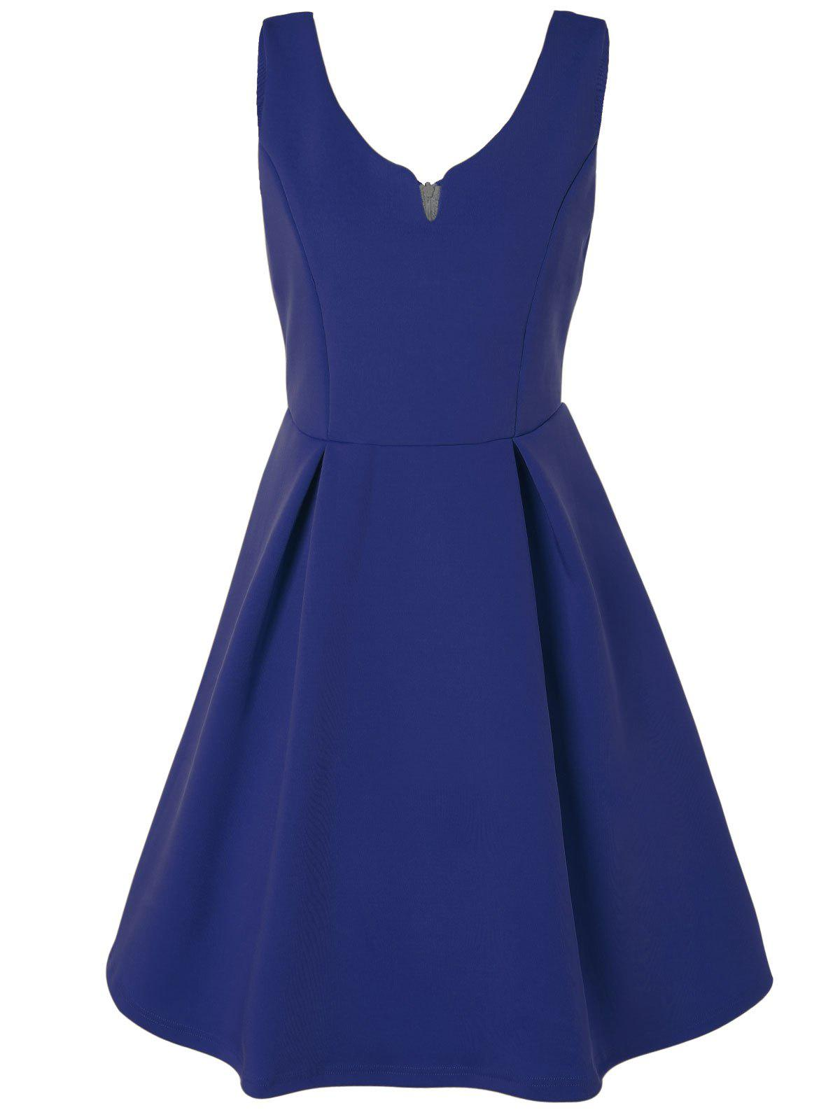 V Neck Fit and Flare Cocktail Dress - BLUE M