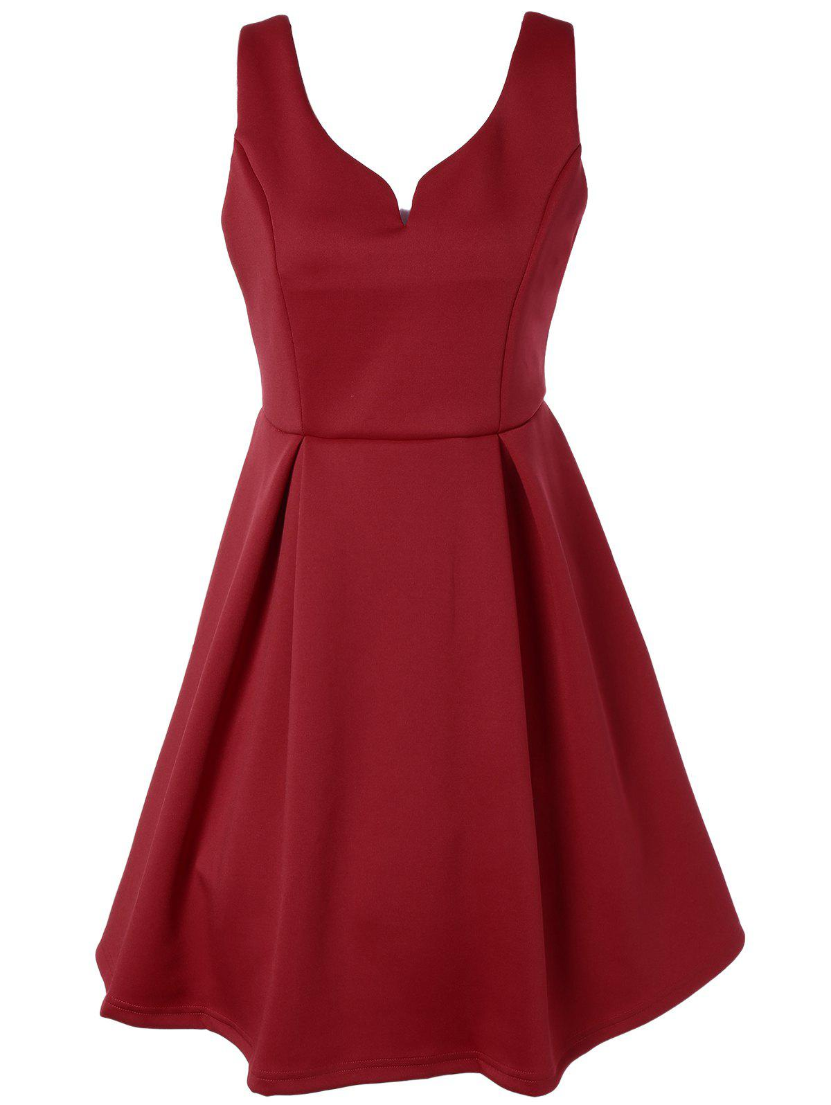 V Neck Fit and Flare Cocktail Dress - RED 2XL
