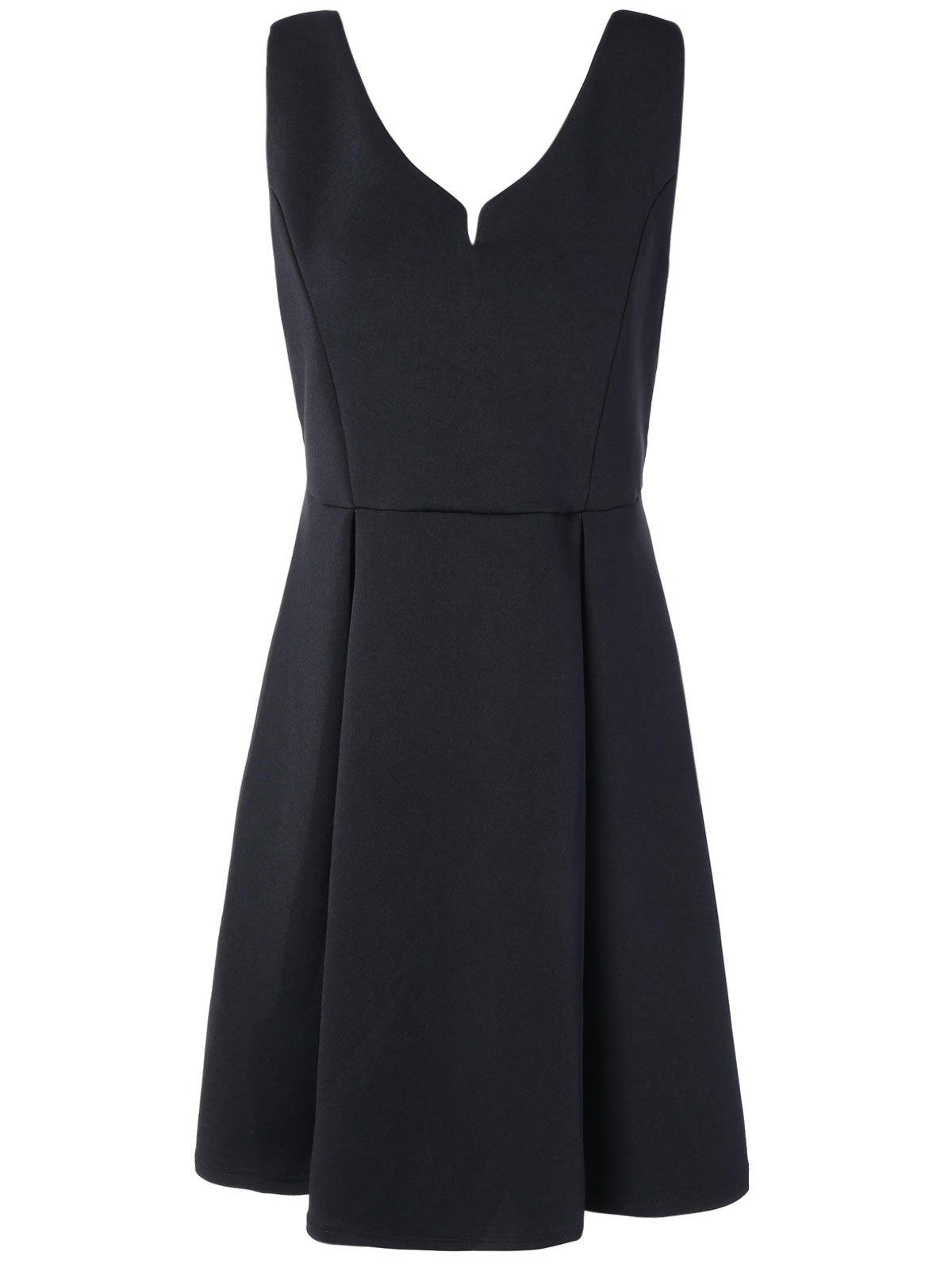 V Neck Fit and Flare Cocktail Dress - BLACK M