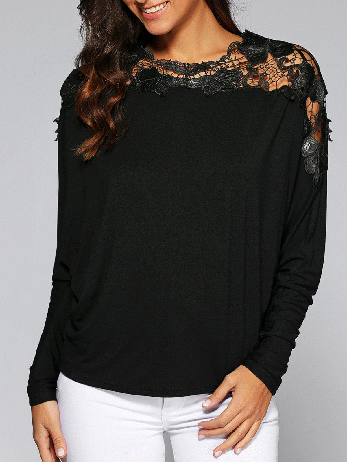 Bat Sleeve Lace Tee mini shatsu bat cape long sleeve tee