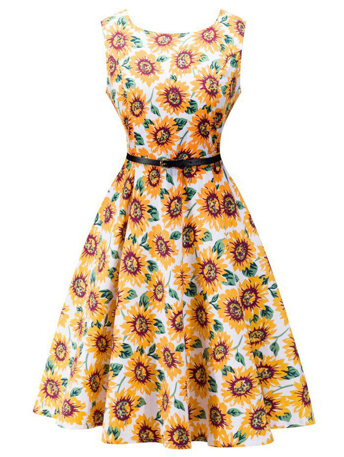 Retro High Waisted Sunflower Dress - PASTER ORANGE L