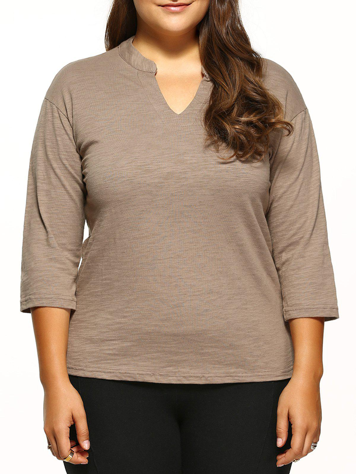 Plus Size V-Neck Tee - Camel XL