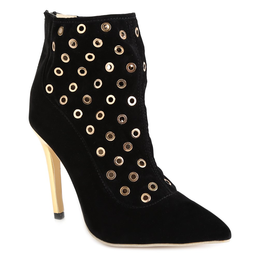 Sexy Hollow Out and Metal Design High Heel Boots For Women - BLACK 40