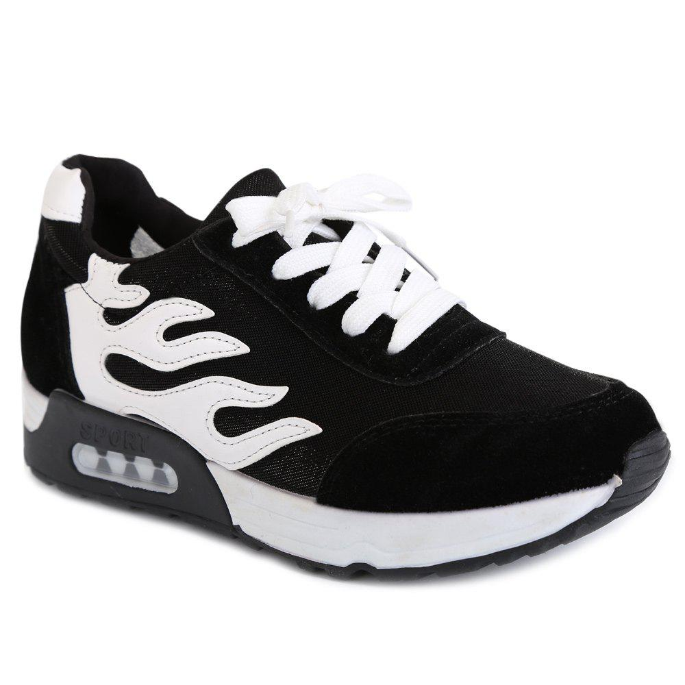 Leisure Mesh and Lace-Up Design Women's Athletic Shoes - BLACK 39