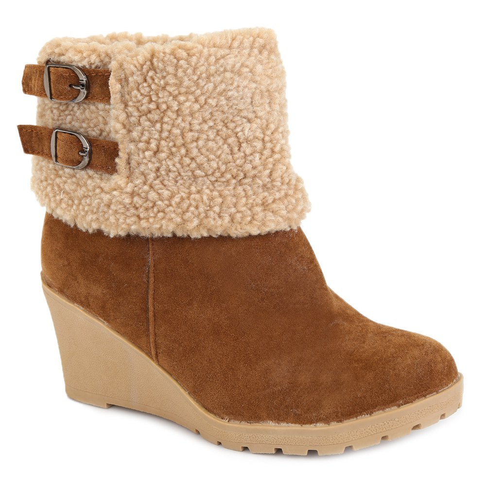 Charming Buckle Straps and Flock Design Snow Boots For Women - KHAKI 38