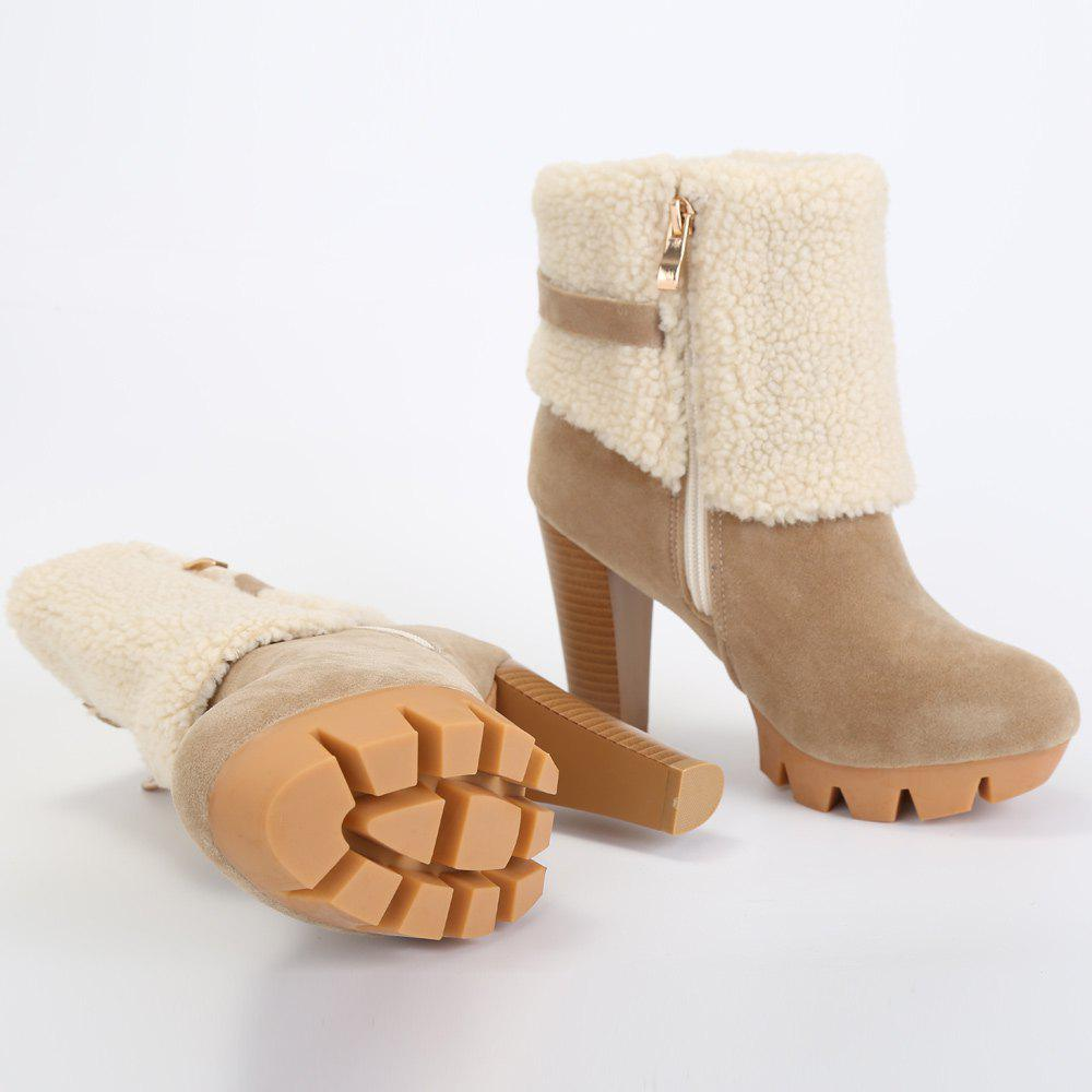 Fashionable Suede and Metal Design Short Boots For Women - APRICOT 39