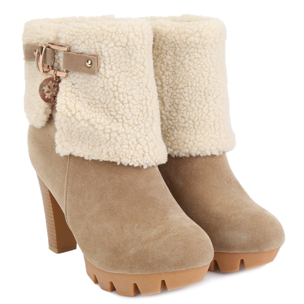 Fashionable Suede and Metal Design Short Boots For Women - APRICOT 37