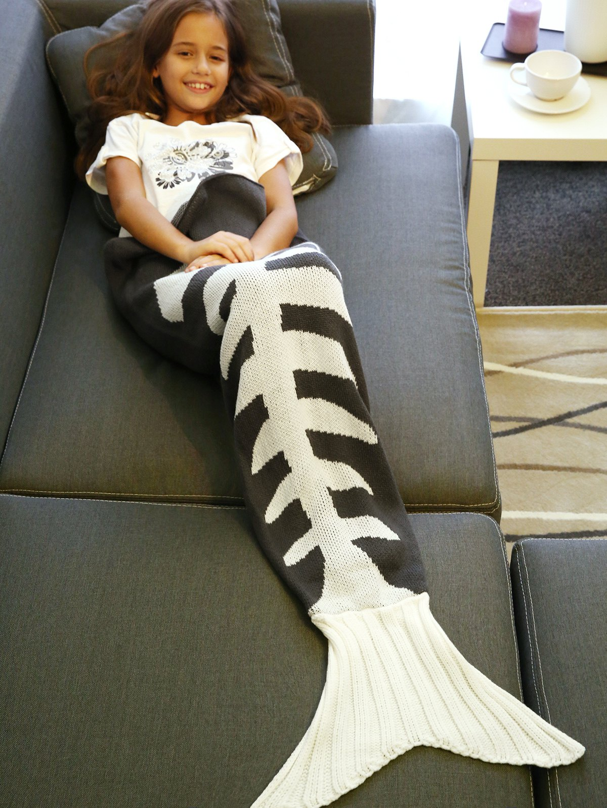 Warmth Knitted Fish Bone Design Mermaid Tail Blanket - GREY/WHITE L