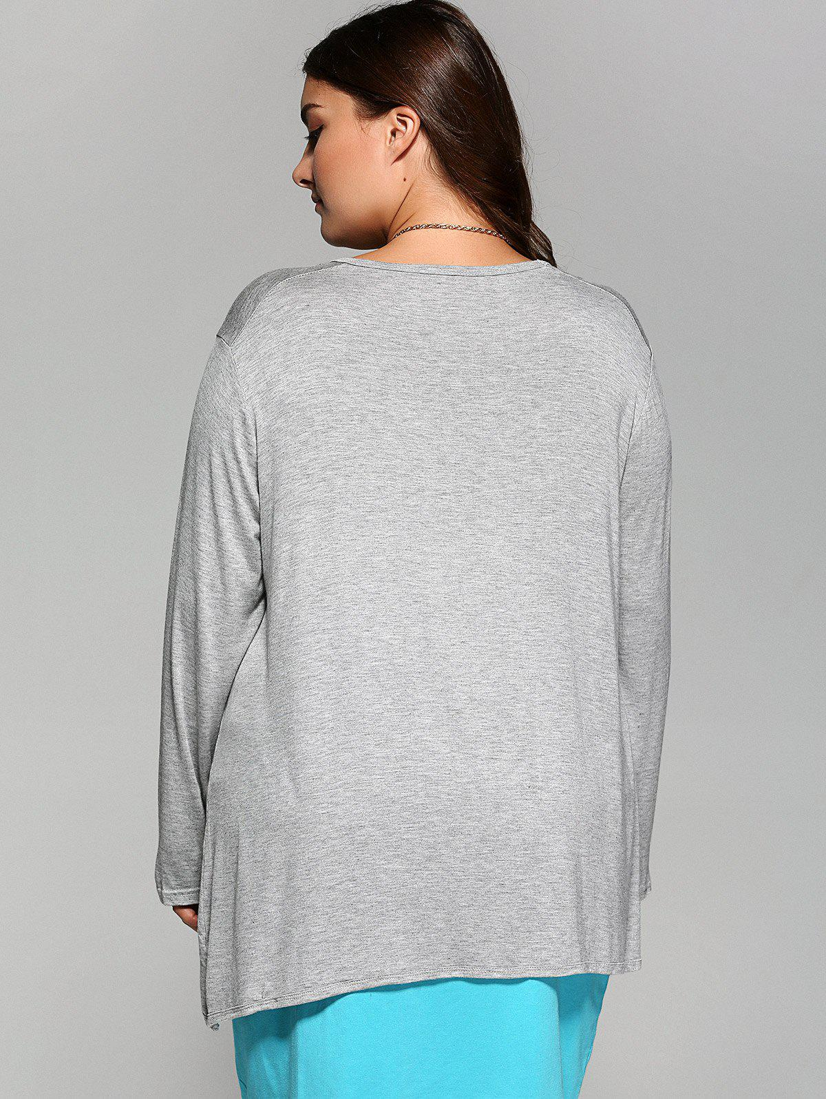 Vrac Asymmetric long T-shirt - Gris Clair 4XL