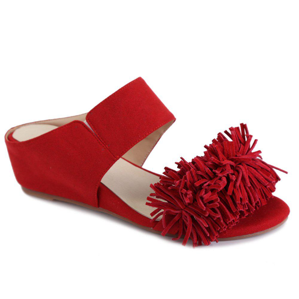 Stylish Fringe and Wedge Heel Design Women's Slippers - RED 39