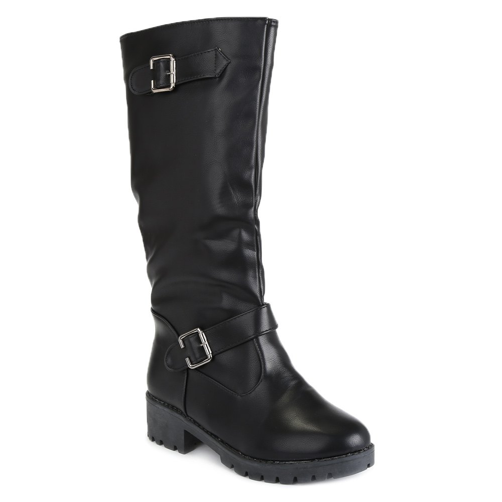 Simple Buckle and Solid Color Design Knee-High Boots For Women - 38 BLACK
