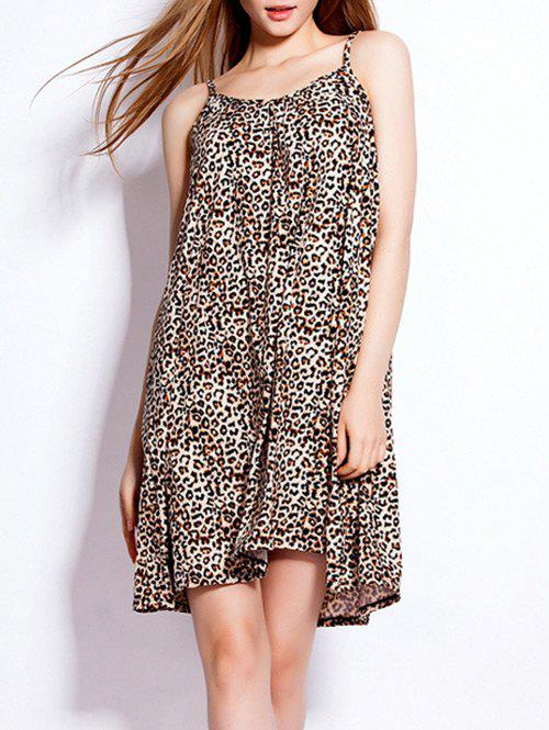 Loose-Fitting Leopard Spaghetti Strap Dress - LEOPARD ONE SIZE