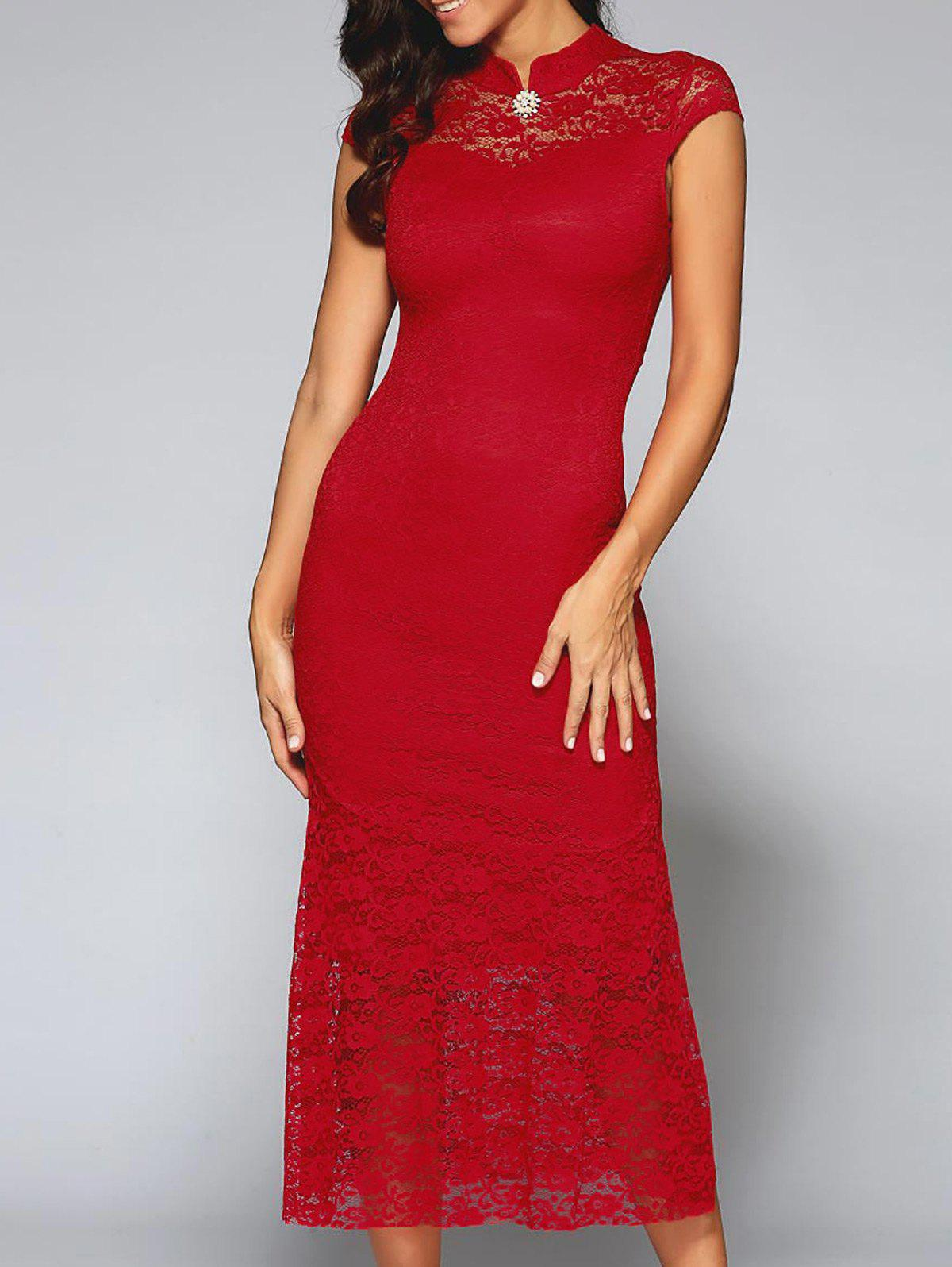 Buy Cut Lace Prom Dress RED
