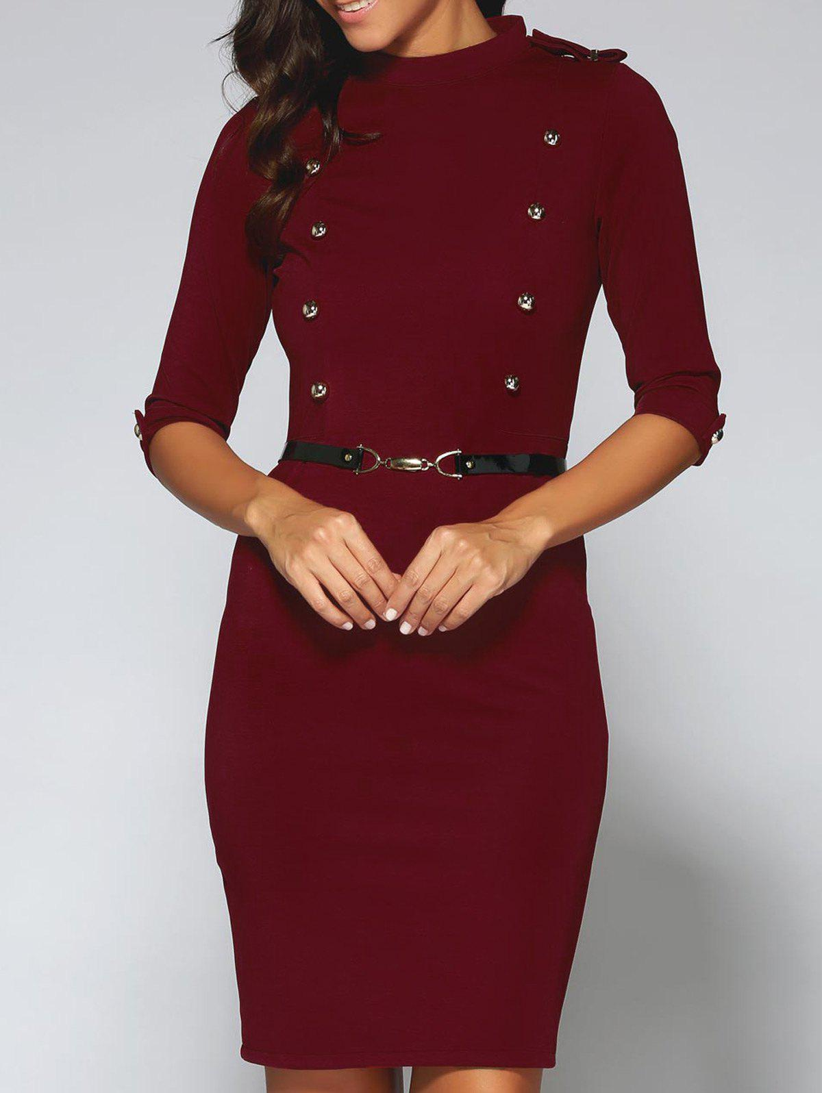 Belted Double-Breasted Work Sheath DressWomen<br><br><br>Size: XL<br>Color: RED