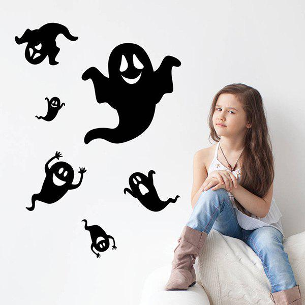 Halloween Ghost Removable Waterproof Room Wall Sticker - BLACK