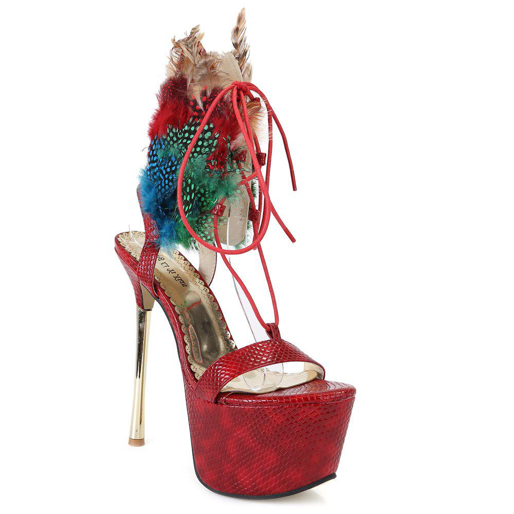 Fashion Lace-Up and Super High Heel Design Sandals For Women - WINE RED 40