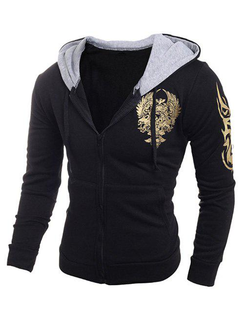 Hooded Printing Drawstring Zip-Up Hoodie - BLACK 2XL