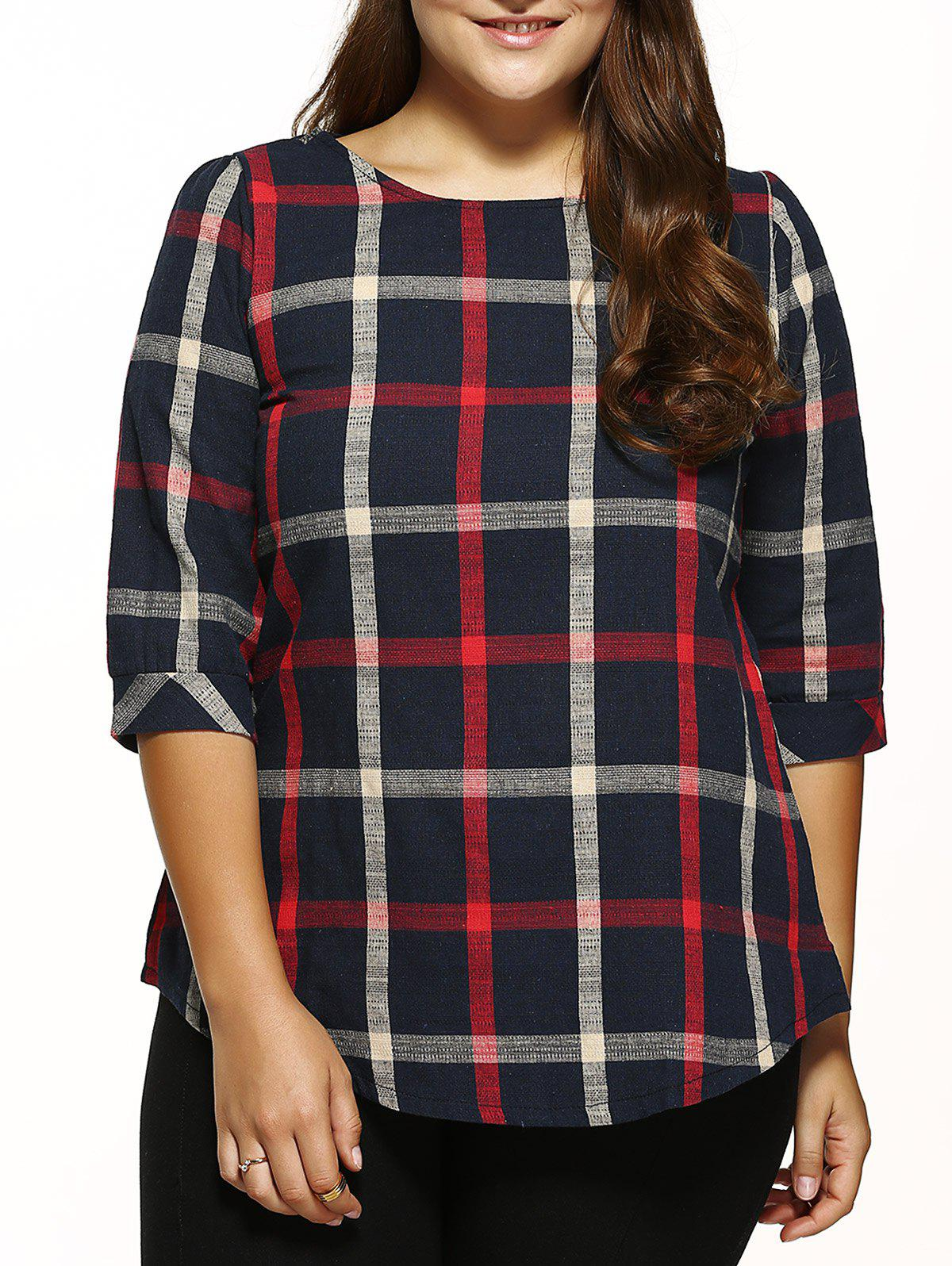Buy Checked Loose T-Shirt BLACK