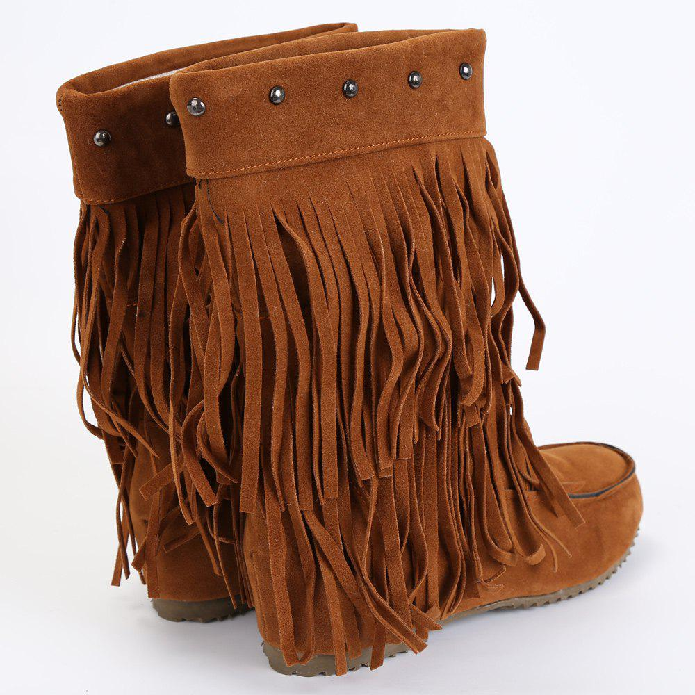 Studded Fringe Mid Calf Boots - BROWN 38