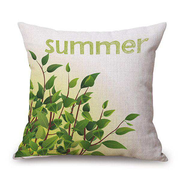 Summer Plants Printed Car Sofa Cushion Pillow Case - GREEN