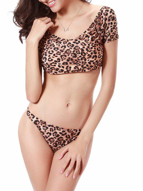 Leopard Scrunch Wide Neckline Crop Top Bathing Suit - LEOPARD XL