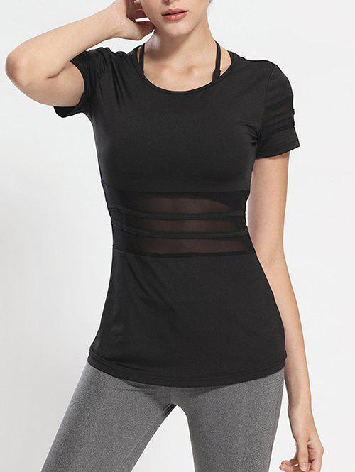 Mesh Panel Long Workout Gym Running T-Shirt - BLACK XL