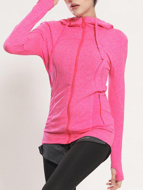 Quick Dry Hooded Sporty Coat - ROSE RED S