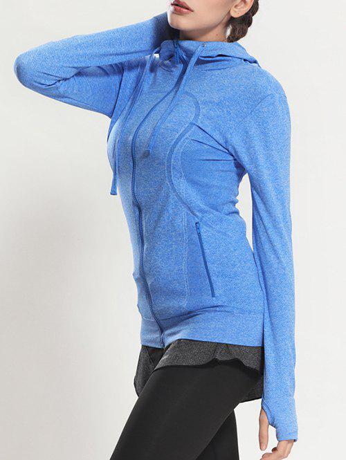 Quick Dry Hooded Sporty CoatWomen<br><br><br>Size: S<br>Color: BLUE