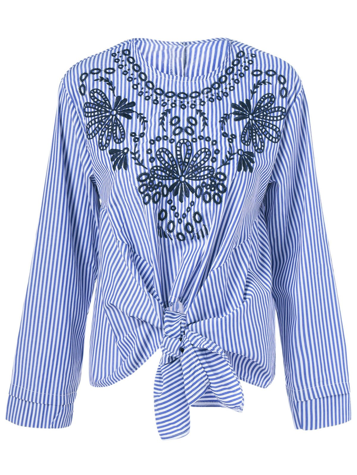 Ethnic Print Striped Tie Blouse