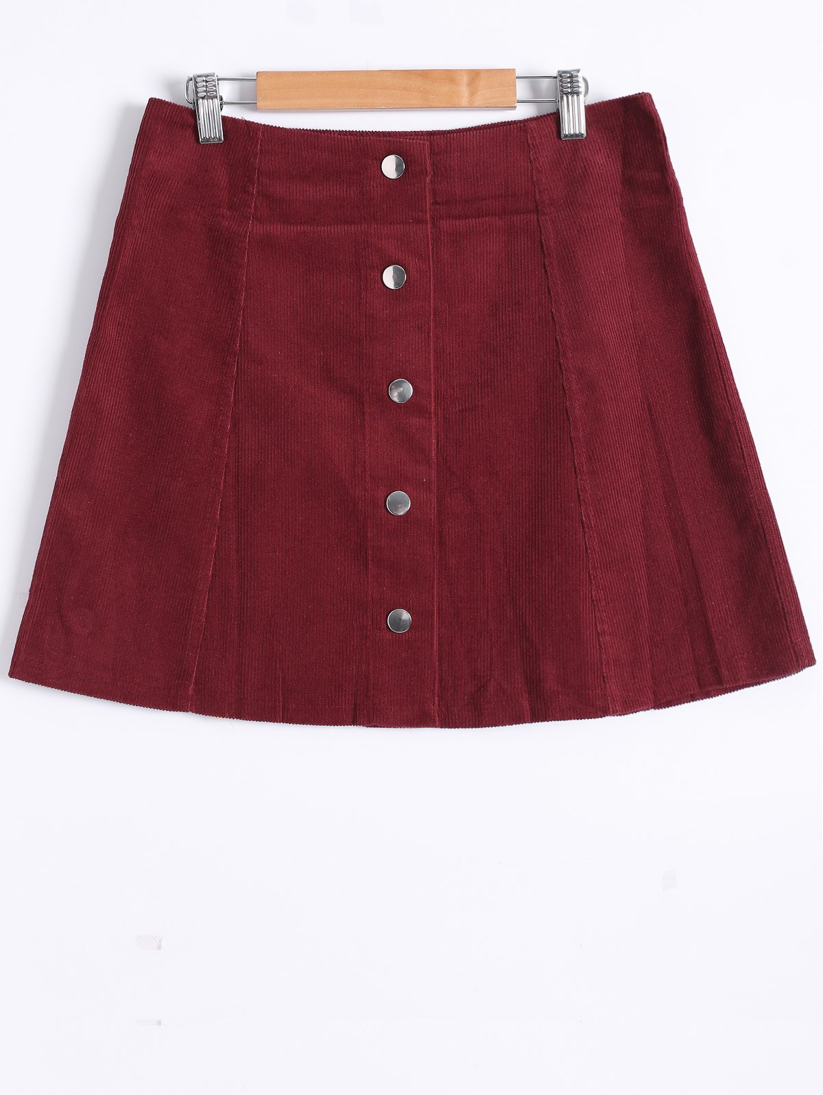 Popper Button Down A Line Skirt - WINE RED XL