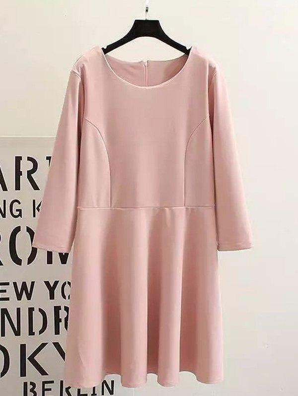 Plus Size Long Sleeves Ruffled Dress - PINK XL