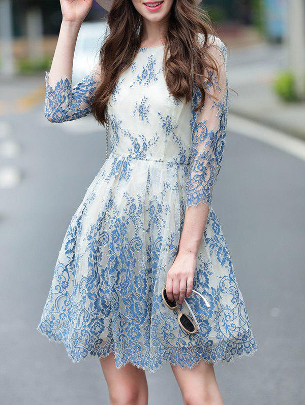 3/4 Sleeve Floral Pattern Layered Dress - BLUE S