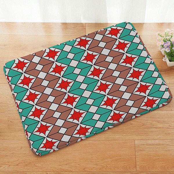 Muticolor Geometric Pattern Absorbent Anti-slip Doormat Carpet - COLORMIX