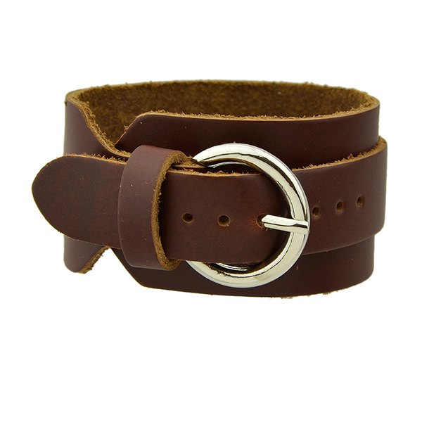 Punk PU Leather Bracelet - BROWN