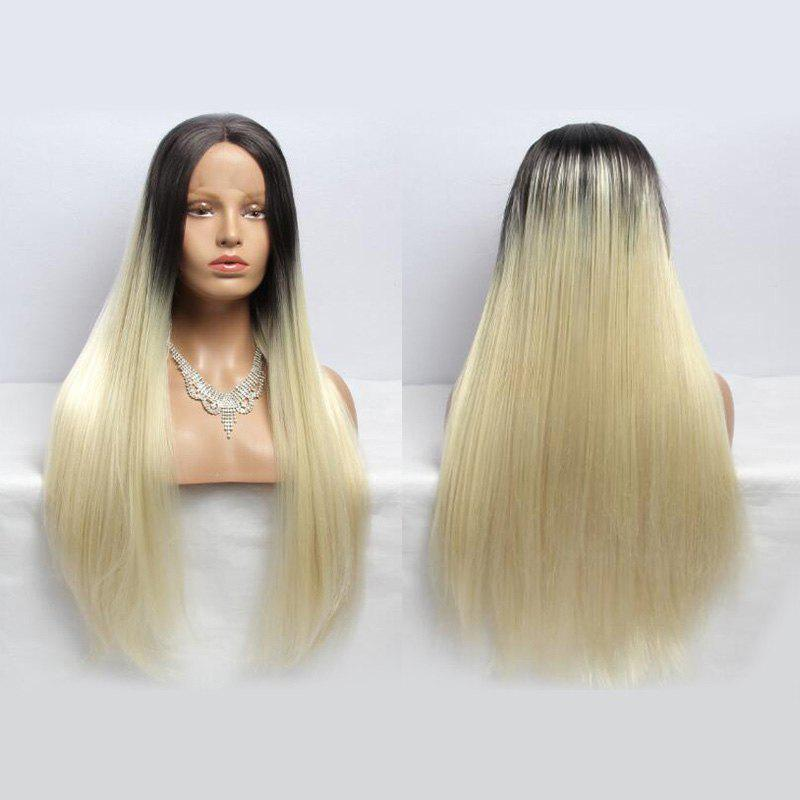 Long Centre Parting Straight Synthetic Double Color Lace Front Wig n2 30 fashion reddish auburn color long straight texture synthetic lace front wig drag queen cosplay wig