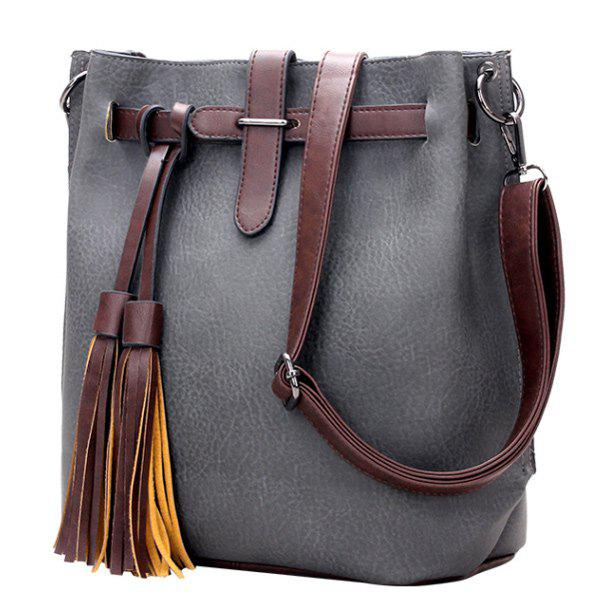 Casual Tassels and PU Leather Design Women's Crossbody Bag - GRAY