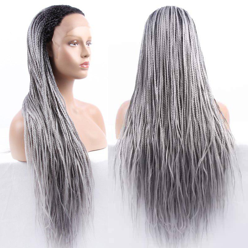 Double Color Long Braided Synthetic Lace Front Wig - BLACK/GREY