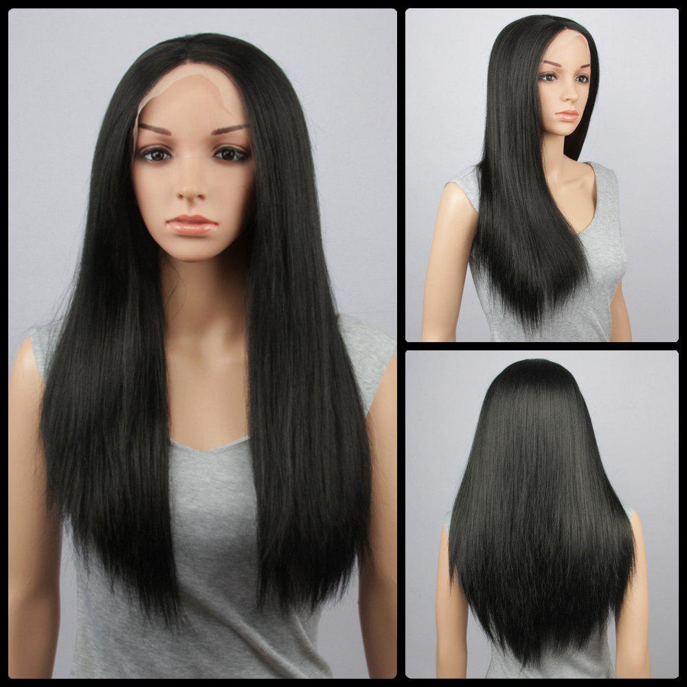 Long Synthetic Lace Front Straight Wig - BLACK