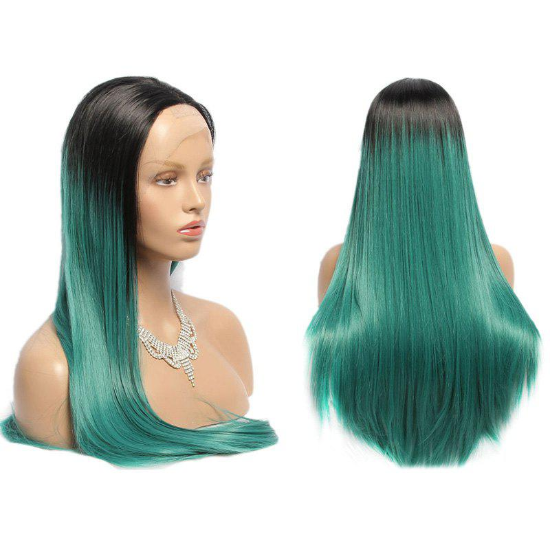 Long Side Parting Straight Synthetic Lace Front Double Color Wig jet black 1 body wave side parting space synthetic lace front wig heat resistant