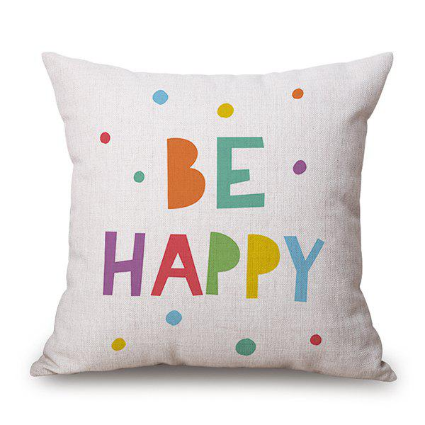 Be Happy Letter Design Sofa Flax Pillow Case stunning glow diy design sequins embellished sofa pillow case