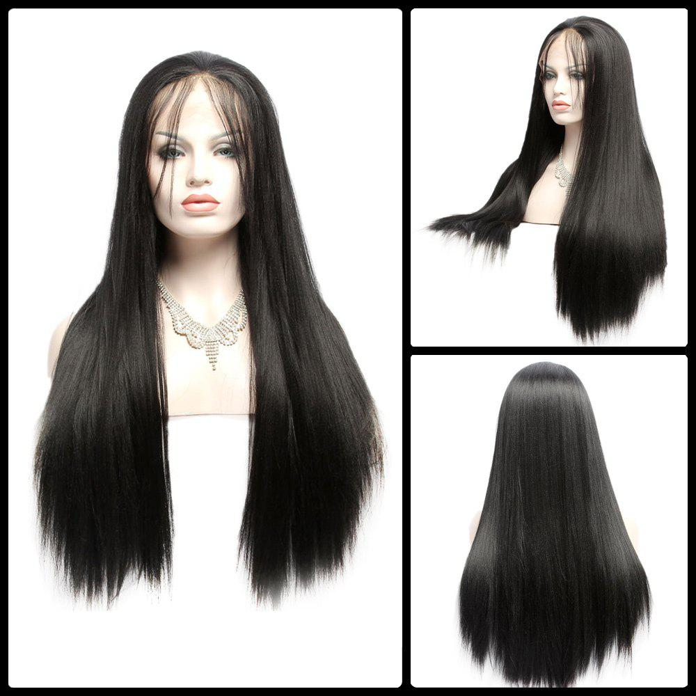 Long Yaki Straight Side Bang Lace Front Synthetic Wig long centre part yaki straight lace front synthetic wig
