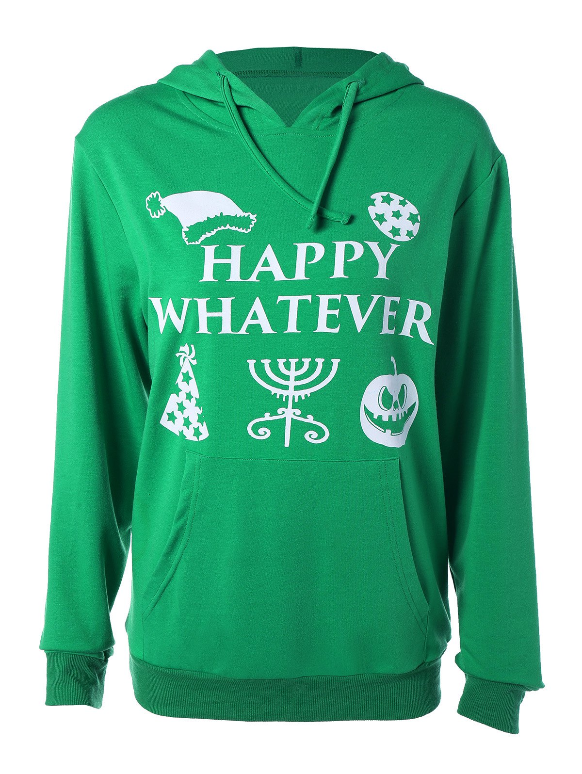 Long Sleeve Letter Print Halloween HoodieWomen<br><br><br>Size: S<br>Color: GREEN