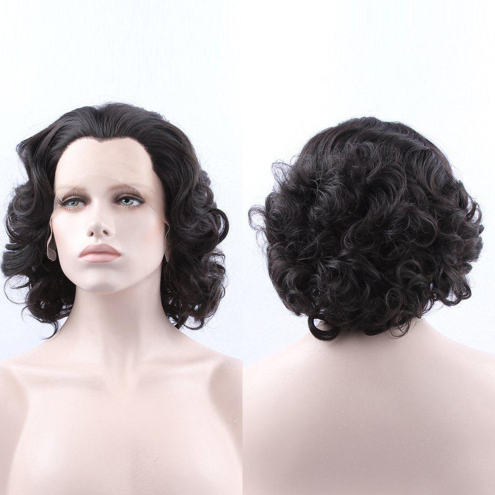 Short Curly Lace Front Synthetic WigHair<br><br><br>Color: BLACK