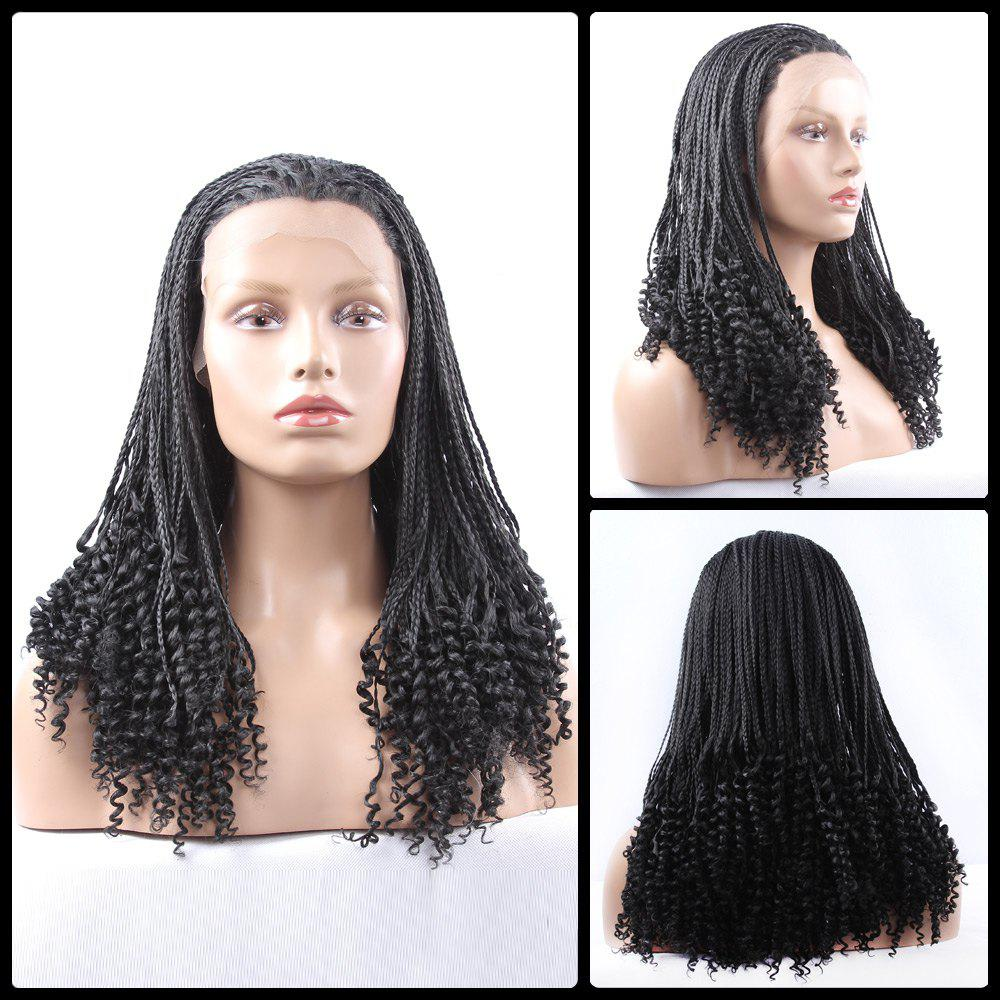Long Braided With Curly Synthetic Lace Front Wig long curly green synthetic lace front cosplay party wig
