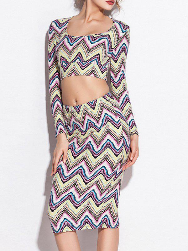 Zigzag Long Sleeve Crop Top and High Waist Skirt Twinset - COLORMIX M