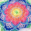 Personnalité Indian Style de Mandala Colorful Flower Polyster Plage Throw - Bleu