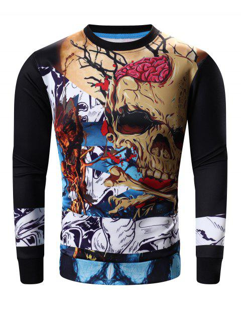 Round Neck Long Sleeve Abstract Skull Print Sweatshirt - BLACK 3XL