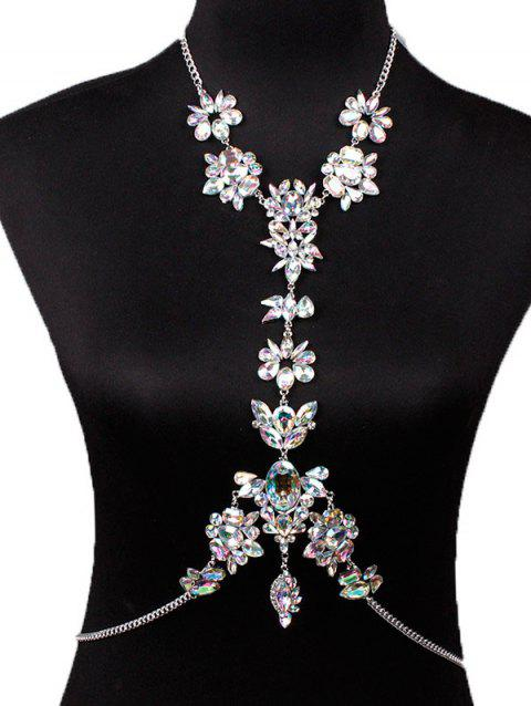 Faux Crystal Leaf Floral Body Chain - WHITE