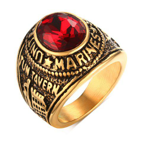 Faux Ruby Oval Shape Alloy Ring - RED 8